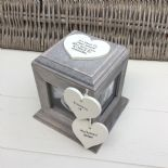 Shabby Chic PERSONALISED Rustic Wood In Memory Of Husband Photo Cube ANY NAMES - 332868788071